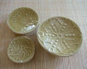 3 size, stackable, candle / soap  plates plates (smaller) - Beige, Flower Pattern