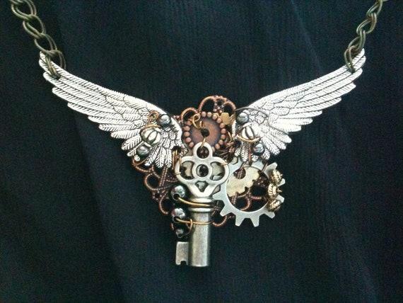 Winged Key Steampunk Necklace