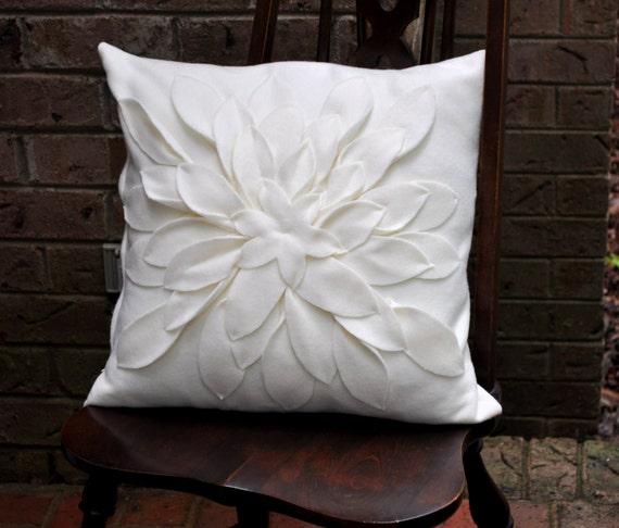 Ivory Fleece Flower  Pillow