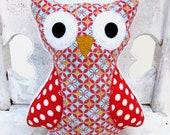 Red Turquoise Stuffed Owl -- Plush Animal -- White Polka Dot