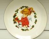 Vintage Jasco Porcelain Christmas Plate Praying Angel Little Girl Praying, Kitten, Holly