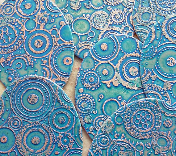 Etched Copper Disks, Sky Blue Ovals, 22mm x 30mm, 1 Pair
