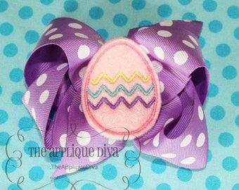 Easter Egg Hair Bow Center Embroidery Design Machine Applique