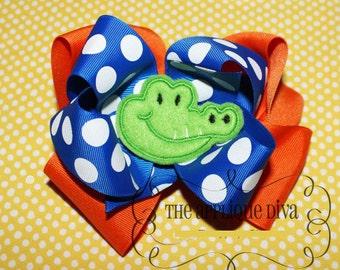 Alligator Hair Bow Center Embroidery Design Machine Applique