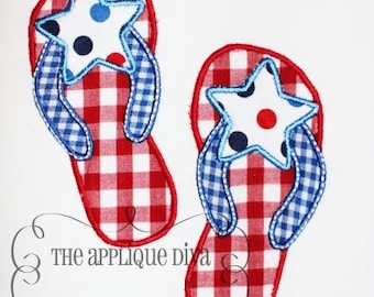 4th of July Flip flops Embroidery Design Applique
