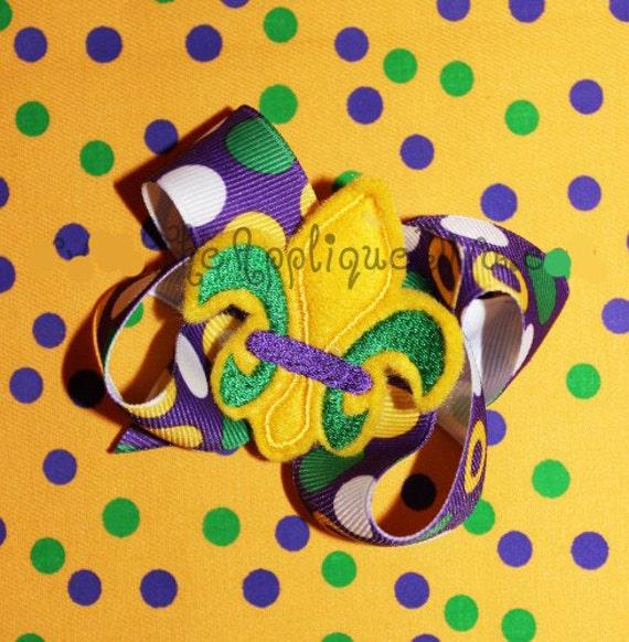 Mardi Gras Three Color Fleur de lis  Hair Bow Center Embroidery Design Machine Applique