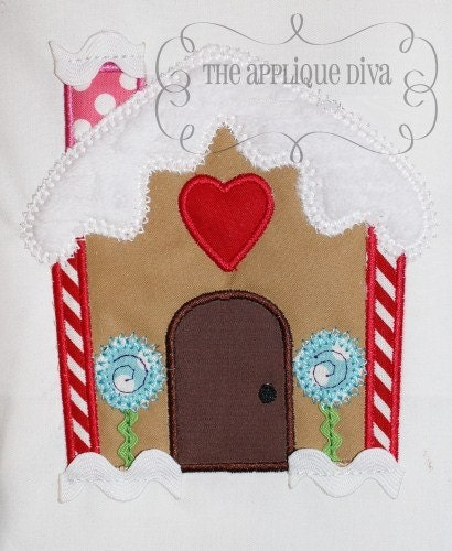 Christmas RicRac Gingerbread House Digital Embroidery Design