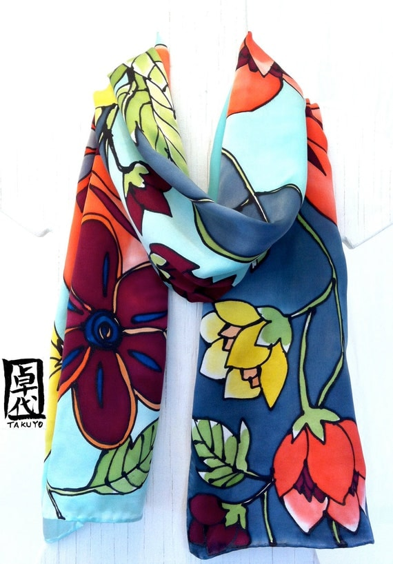 Hand Painted Silk Scarf Floral. Kimono Japanese Silk Scarf. Luxury Silk Satin, Mint Green Oriental Flowers. Made in USA. Approx. 14x72 in.