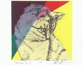 Meowza No 3 - Silkscreen Print of a Cat Portrait - 5x5
