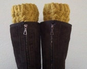 Boot cuffs /  Boot socks /  Short Leg warmers / Boot tops for girls, teens, women - MUSTARD - (more colors available)