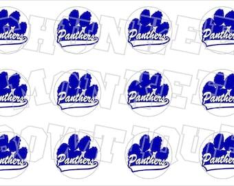 Royal Blue and White Panthers paw print bottlecap image sheet pawprint