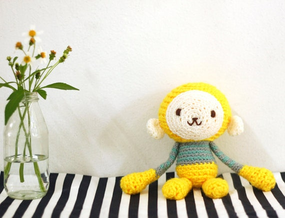 Amigurumi Crochet Monkey in Bright Yellow and Grey & Teal Striped Top
