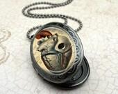 Anatomical Heart Locket Necklace - Gunmetal Locket with Matching Chain (1235)