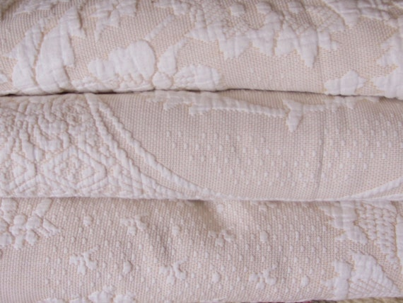 Bedspread, Vintage Ecru and Cream Quilted