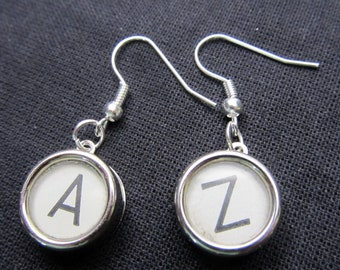 Typewriter Earrings white Type writer key keys YOUR OWN LETTERS
