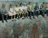 New York City Art PRINT, urban art, skyscrapers, architecture, building art,  famous image, archival from original oil painting