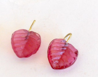 Pink Leaf Beads -WireWrapped with gold headpins, 1 pair
