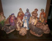 Large rare nativity, hand painted ceramic, the only set available
