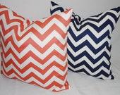 Navy White Zig Zag & Coral White Zig Zag Chevron Print Decorative Pillow Cover 18x18