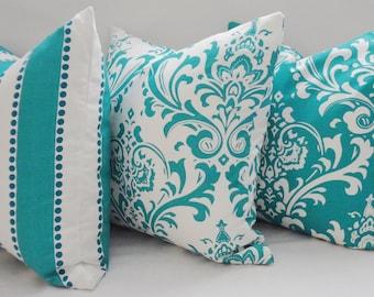 Trio Decorative Pillow Turquoise Damask Pillow Covers Throw Pillows 3 Sizes