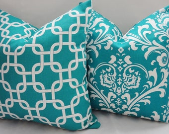 Two Decorative Pillow Turquoise Damask & Turquoise Geometric Pillow Covers Throw Pillows 18x18