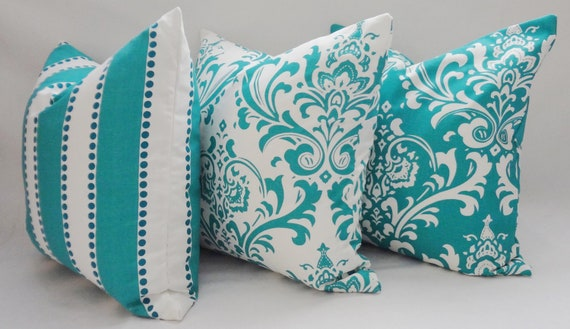 items similar to trio decorative pillow turquoise damask 87861
