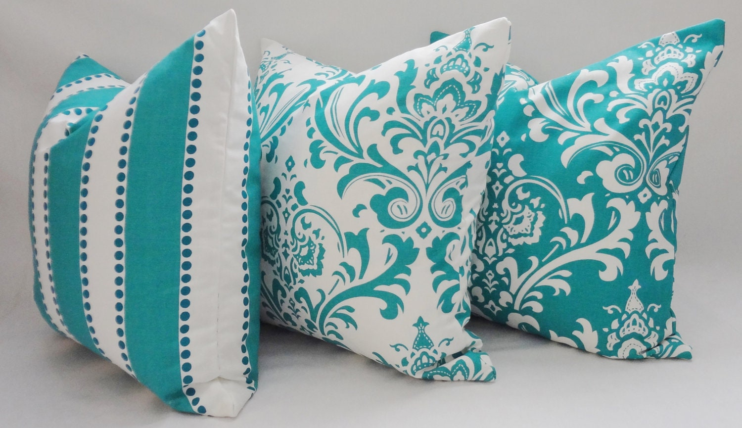 Decorative Pillows In Turquoise : Trio Decorative Pillow Turquoise Damask Pillow by HomeLiving