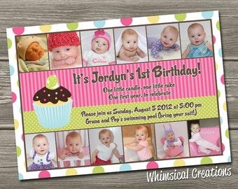 Cupcake Birthday Invitation (Digital File) - I Design, You Print - Cupcake 1st Birthday Invitation