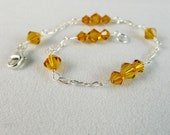 Amber Swarovski Elements Bicones Thin Bracelet in Sterling Silver, Topaz Yellow Crystal Bridal Bridesmaids Wedding Custom Jewelry