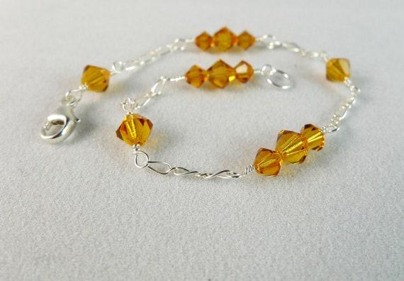 Amber Swarovski Elements Bicones Thin Bracelet in Sterling Silver, Topaz Yellow Crystal Bridal Bridesmaids Wedding Custom Jewelry