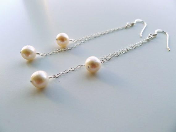 Double Ivory Freshwater Pearl Dangle Earrings in Sterling Silver, Bridal Pearl Bridesmaid Wedding Custom Jewelry
