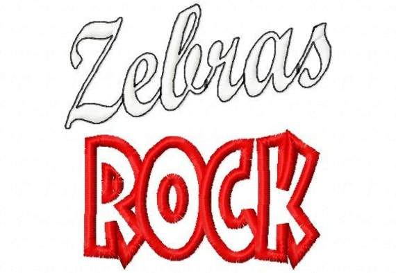Zebras ROCK - Applique - Machine Embroidery Design -  8 sizes