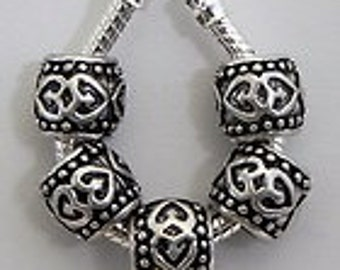 Antiqued Hearts Silver Plated Spacer Beads Fit  European Style Charm Bracelet