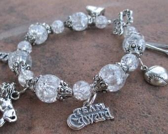 Team Edward Vampire Clear Ice 2 Charm Bracelet