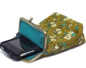 Smartphone Case / Fabric Case - Olive Green Corduroy with small flowers - Antique Bronze Frame