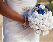 "Handmade Satin Ribbon Rose Bouquet :  Round 7"" Bouquet - WHITE bouquet for mmwellington95mw"
