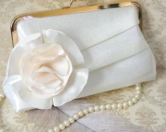 Pleated Bridal Clutch with Flower Adornment- Custom
