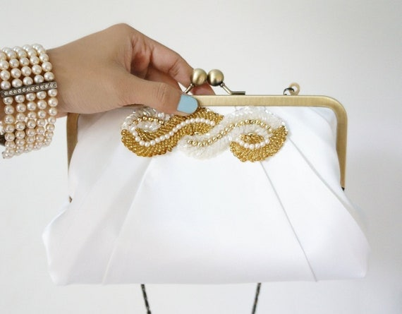 Pleated Art Deco Clutch Purse-Pale Ivory with Beaded Adornment