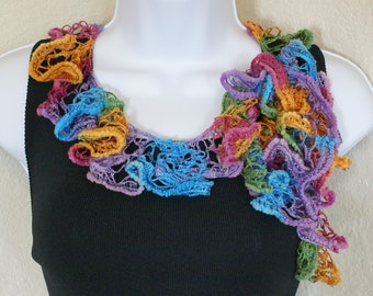 Ruffle scarf handmade  crochet lace and soft rainbow colors scarf or belt for spring and summer