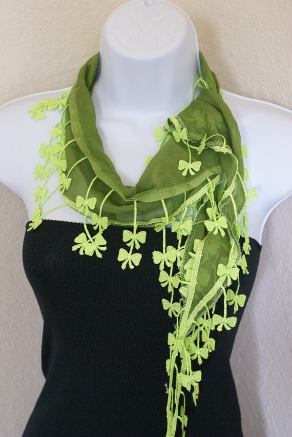 Traditional multipurpose seasonal green with green neon color lace scarf