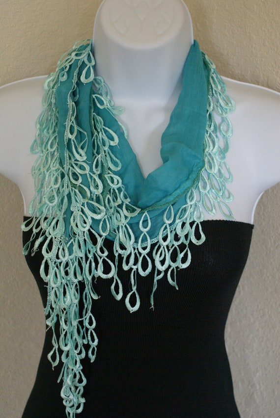 turquoise color Traditional multipurpose seasonal with turquoise lace scarf