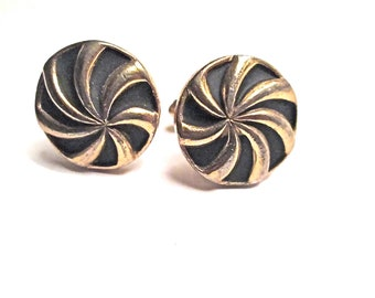 Vintage Swirl Cuff Links - Speidel Black and Gold 1950s