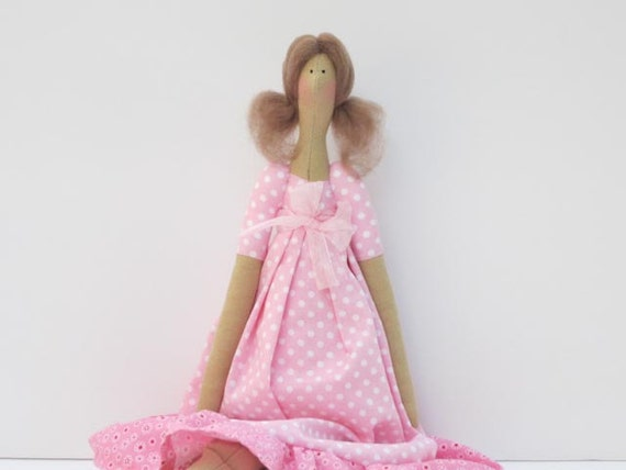 Lovely fabric doll in pink polka dot dress- cloth doll,art doll -cute stuffed doll, rag doll - gift for girls and mom