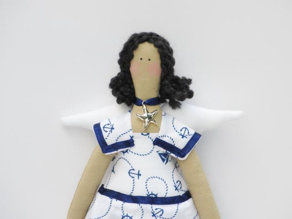 Soft and lovely angel fabric doll,cloth doll sailor doll- brunette,stuffed doll- birthday gift  for girls