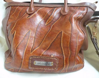 handbag flame cowleather flame embossed rich brown leather