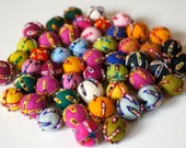 100% Wool Felt Balls with beads,  50 pcs, 1 inch (23mm), pure wool, Embroidery Mix