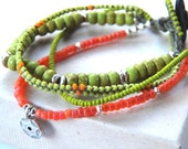 Beaded Bracelet with Beaded Loop Clasp and River Rock Button