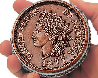 "1877 One Cent - BIG  3"" COIN Case • A Great Desk Accessory For Collectors & Gift Idea For Him • A Limited Edition • Includes A Free Gift !"