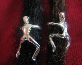 2 X Sterling Silver Dreadlock climber charm -  dreadlock beads