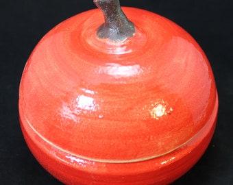 Cookie Jar Large Ceramic Centerpiece Holiday Table Apple For the Teacher Jar Pottery Apple Box Apple Lidded Jar